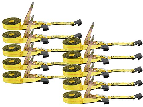 Ratchet Tie-Down Straps with Flat Hooks, 2' x 30' Ratchet Straps Yellow | 10,000 Lbs Breaking Strength | TieDown Ratchet Straps for Flatbed, Truck, Trailers Pickup (10 Pack)