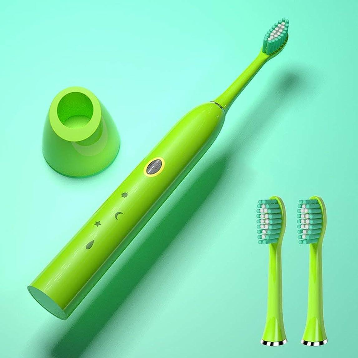 ネックレス落とし穴消化電動歯ブラシ大人の誘導充電式音響振動自動粉砕磁気サスペンション歯ブラシ(カラー:グリーン)