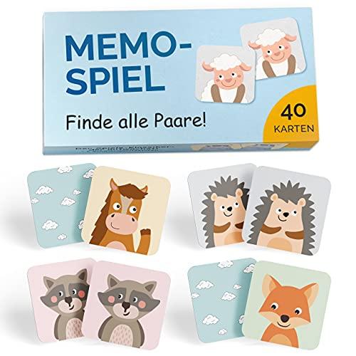 GLÜCKSWOLKE Memo - Spiel I Für Kinder ab 2 bis 6 Jahre I Montessori Spielzeug - fördert Konzentration + Merkfähigkeit I Lernspiele - Mit 7 Schwierigkeitsstufen I Kinderspielzeug - Neu (40 Karten)