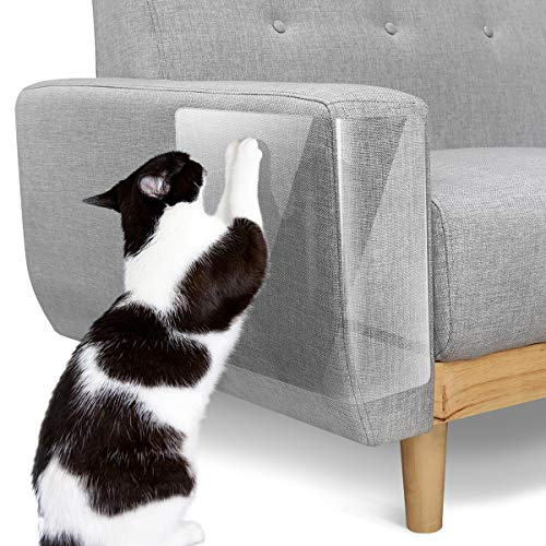 Pawaboo [10 PZS Cinta de Entrenamiento Anti Arañazos para Gatos, Cinta Disuasoria Transparente para Rascar Gatos, Protector de Muebles para Sofá, Alfombra, Puertas - Blanca