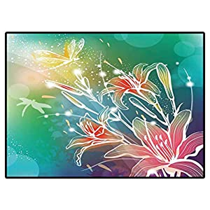 Doormat Outdoor Background with Flowers Lily Rugs for Christmas and Thanksgiving 6.6 X 10 Ft