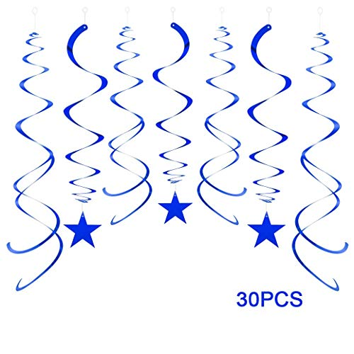 Aimto Party Swirl Decorations,Foil Ceiling Hanging Swirl Decorations with Star, Dallas Cowboys Party Decorations,Pack of 30 (Blue)