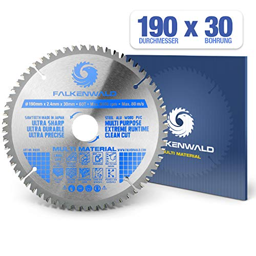 FALKENWALD - Hoja de Sierra Circular 190 x 30 mm - Ideal para Madera - Metal y...