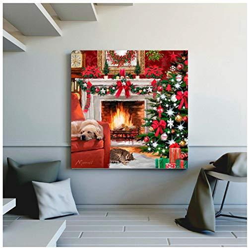 Kerstversiering voor thuis de warme open haard slapende hond en kat kunst muur foto's voor de woonkamer canvas schilderij cadeau- 50x50cm geen frame