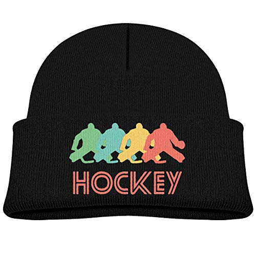 Amoyuan Baby Jongens Kids Meisjes Winter Hoed Retro Hockey Pop Art Gebreide Hoed Warm Peuter Cap Zwart
