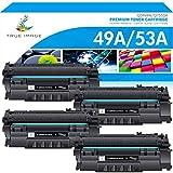 True Image Compatible Toner Cartridge Replacement for HP 49A Q5949A Toner 49X Q5949X 53A Q7553A HP Laserjet 1320 Toner 1320n 1160 3390 P2015 P2015dn (Black, 4-Pack)