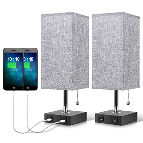 USB Bedside Table Lamp,Seealle Grey Modern Table & Desk Bedside Lamp...