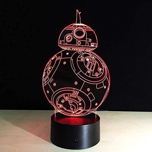 3D Illusion 7 Color Touch Master Yoda Dh Vader Sin marca 7 colores Lámpara de escritorio táctil cambiante para niños Cumpleaños Regalos de Navidad