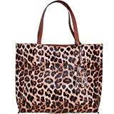Humble Chic Large Vegan Leather Tote Bag - Reversible Shoulder Handbag Purse for Women - Oversized Lightweight Top Handle Two-in-One Carry-All, Leopard & Saddle Brown, Camel, Cognac, Black, Tan