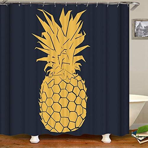 N / A Ananas Haken Duschvorhang Badezimmer Vorhang Duschvorhang 3D Stoff Lustiger Duschvorhang Wasserdichter Vorhang oder Mattenfamilie Wasserdicht Schimmelresistenter Duschvorhang A9 120x180cm