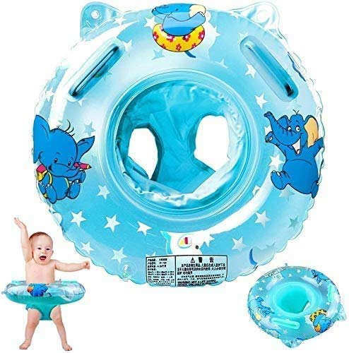 Baby Neck Float Ring, Baby Float, Baby Swimming Ring Inflatable Pool Float Swimming Trainer for Baby Infant Toddler Carton Elephant Baby Pool Float Ring Seat with Swimming Safety Handles Hand Pump
