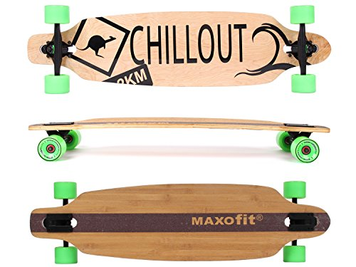 MAXOfit® Deluxe Cruiser Longboard | Komplettboard mit ABEC-11 Kugellagern | Drop-Through bis 107 cm (Chillout No.19)