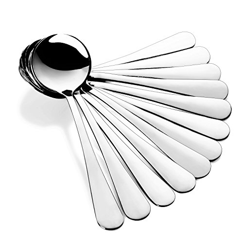 Hiware 12-Piece Soup Spoons, Round Stainless Steel Bouillon Spoons