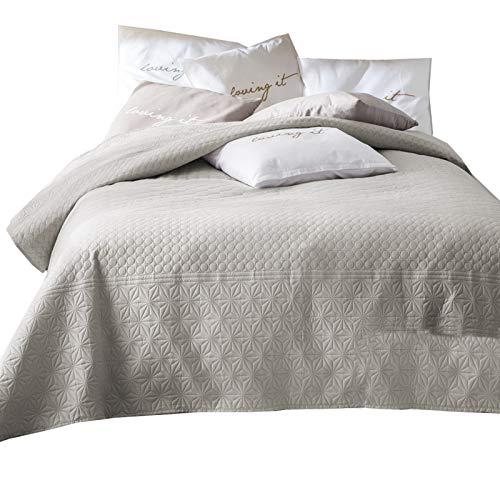 JEMIDI Bett und Sofaüberwurf XL Doppelbett gesteppt 220 x 240 Tagesdecke Überwurf Husse Decke XXL Tagesdecken Steppdecke gesteppt (Beige)