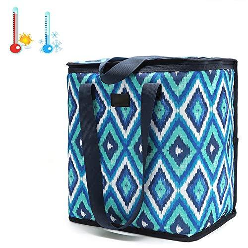 ZXZXZX Bolsa Térmica Folded Bolsa Isotérmica de Almuerzo Nevera para Llevar Comidas Frutas Bolsa de Enfriamiento 22 L con Forro Aislamiento Térmico Genial para Playa Picnic Barbacoa