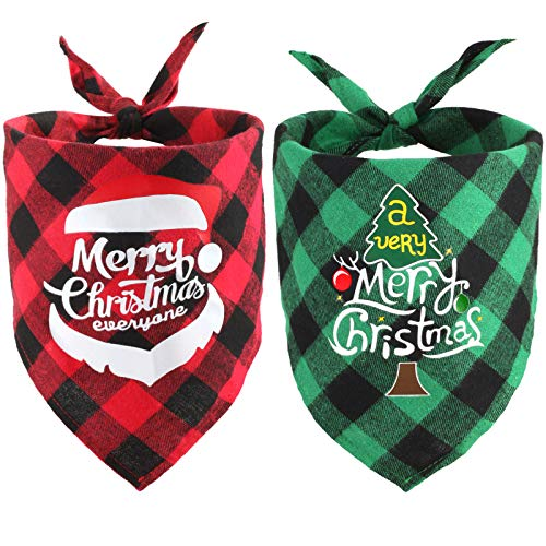 2 Pack Merry Christmas Dog Bandana S/M/L/XL, Classic Plaid Pet Scarf Triangle Bibs Kerchief Santa Snowman Print Pet Bandana for Puppy Small Medium Large Dogs Pets (Style 1)