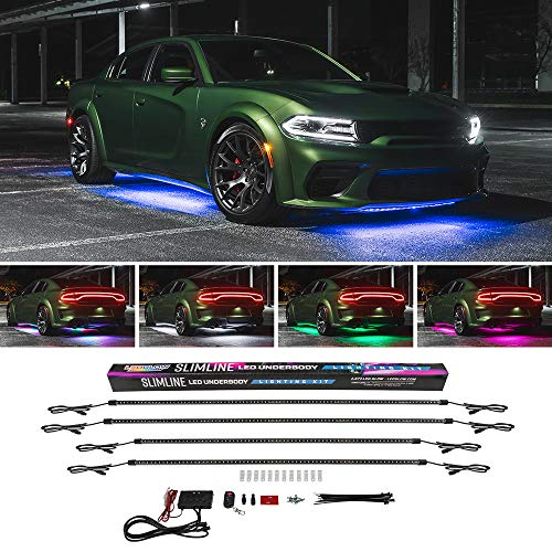 LEDGlow 4pc Multi-Color Slimline LED Underbody Underglow Accent Neon Lighting Kit for Cars – 10 Solid Colors – 13 Unique Patterns – Music Mode – Water Resistant Tubes – Includes Control Box & Remote