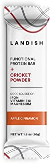 Landish Nutrient-Dense Plant-Based Protein Bar Boosted With Cricket Powder - Apple Cinnamon - 50 Grams - Box of 12 - Gluten Free - Dairy Free - Peanut Free
