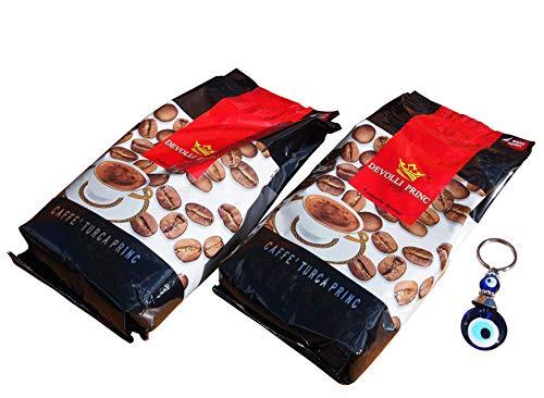 2 x 500g Devolli Princ caffe - Kosovarischer Mokka Kaffee nach türkischer Art fein gemahlen + Orient-Feinkost Nazar Schlüsselanhänger GRATIS