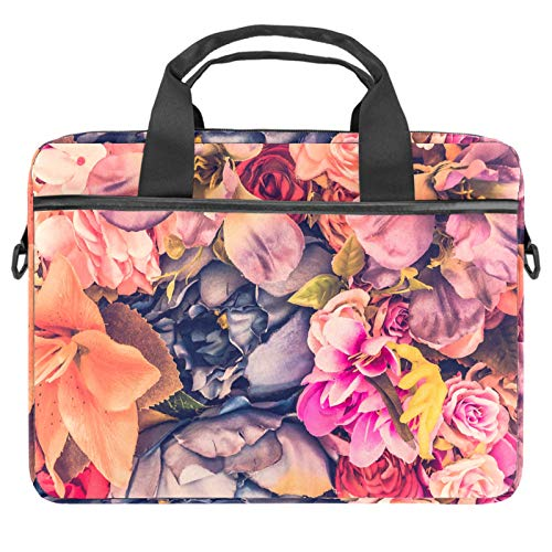 Laptop Bag Rose Flower Floral Notebook Sleeve with Handle 13.4-14.5 inches Carrying Shoulder Bag Briefcase