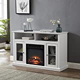GOOD & GRACIOUS Electric Fireplace TV Stand, Fit up to 55' Flat Screen TV with Two Tempered Glass Cabinet Entertainment Center for Living Room, White