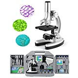 TELMU Microscope de Poche pour Enfants et Débutants, 300 X, 600 X et 1200 X, 70 Pièces d'Assessoires Fournis, avec Éclairage...