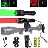 Linterna de caza roja y verde, 350 yardas Luz de depredador LED Coyote Hog rojo verde con interruptor de presión y montaje de alcance, linterna táctica verde y roja con zoom para caza nocturna