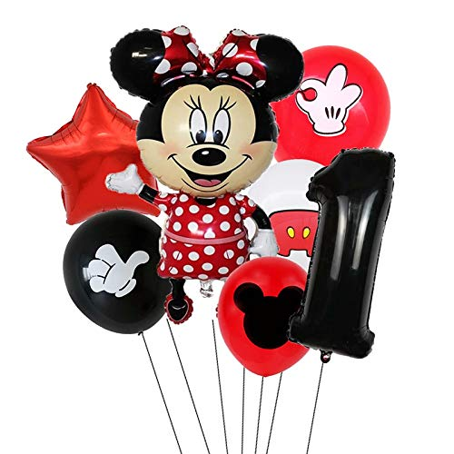 XIAOYAN Balloon 7pcs Disney Mickey Mouse Foil Balloons Set Boys &Girls Birthday Party Decoration Baby Shower Party 32inch Black Numbers Balloon ( Color : Minnie1 )