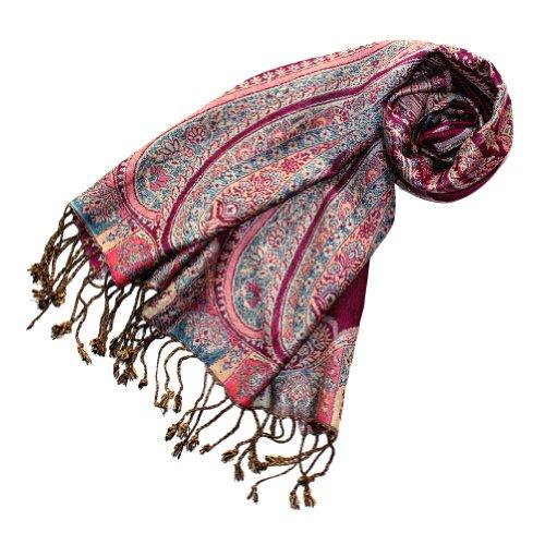 LORENZO CANA Eleganter Damen Markenschal Schaltuch Naturfaser mit opulenten Paisley Muster in harmonischen Farben mit Fransen 35 cm x 160 cm - 78113
