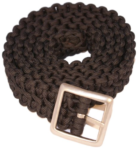 Bison Designs Double Cobra Paracord Survival Belt with Gunmetal Finish Buckle (Black, 34-Inch Maximum Waist/Small)