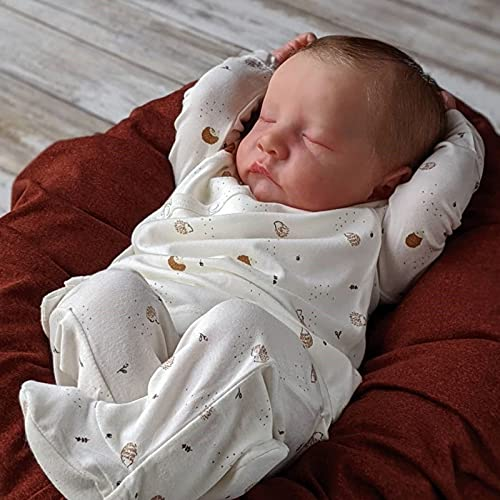 DLLzq Bebe Reborn Silicona Cuerpo Completo - 46 Cm 18 Pulgadas Bebé Reborn - con 1 X BiberóN Bebe Reborn Silicona Cuerpo Completo, Regalos De CumpleañOs Renacidos