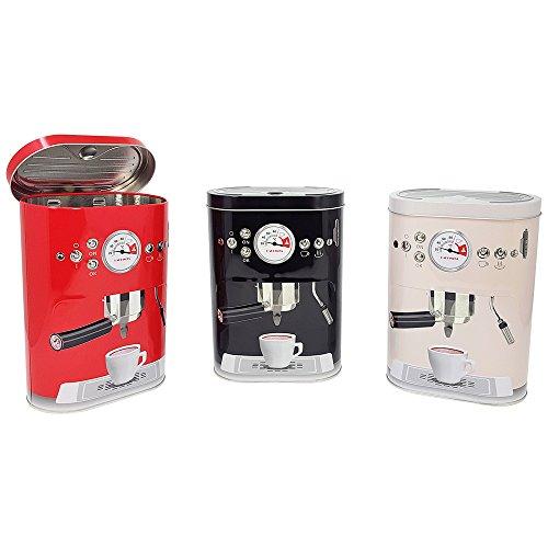 com-four® Retro Vorratsdose Coffee Machine, Frischhaltedose aus Metall mit Klappdeckel, 19 x 14 x 7,5 cm (Kaffee)