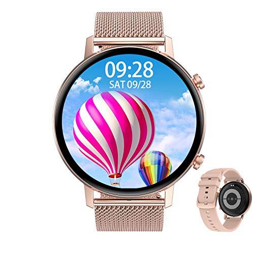 Aliwisdom Smartwatch per uomo donna bambini, 1,3'' rotondo Smartwatch Fitness Tracker impermeabile orologio fitness Cinturino in metallo per iphone Android, con Promemoria intelligente (Oro rosa)
