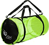 LISH Mesh Dive Bag - XL Multi-Purpose Equipment Diving Duffle Gear Tote, Ideal for Scuba, Snorkeling, Surfing and More (Yellow)
