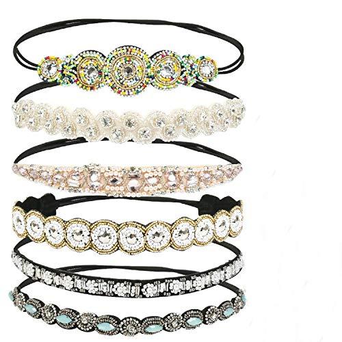 6 Stück Elastisches Haarband Haarreife HaarschmuckKristall Strass Kopfkette für Damen Frauen
