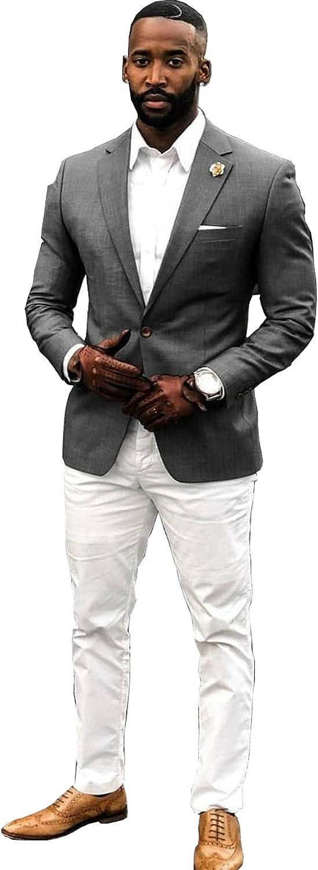 jianruiy Men's Suit Two-Piece Suit Business Wedding Special Jacket & Pants