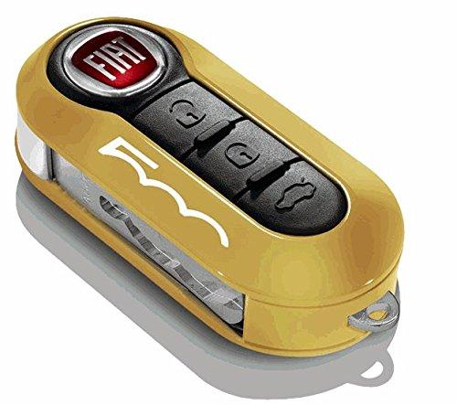 2 x originele nieuwe Fiat 500 sleutelhoezen in mosterd en wit met 500 logo