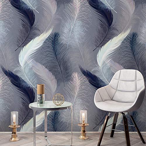 Fotobehang Grijs Veren Creatieve Scandinavische Handbeschilderde Behang Woonkamer Slaapkamer Eenvoudige Moderne TV Achtergrond Behang 430 * 300cm(169.3 x 118.1 inch)