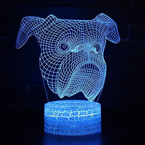 ilusión 3D LED de luz nocturna Perro bulldog ideal como regalo de cumpleaños para niños, niños y hombres Cambio de color colorido, con interfaz USB