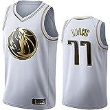 DIMOCHEN Movement Ropa Jerseys de Baloncesto para Hombres, NBA Dallas Mavericks 77# Luka Dončić, cómodo, Camiseta Uniformes Deportivos Tops(Size:XXL,Color:G1)