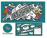 CardWheels 12 SUPERHELDEN Einladungskarten zum Kindergeburtstag + 13 Aufkleber Gratis - Mädchen...
