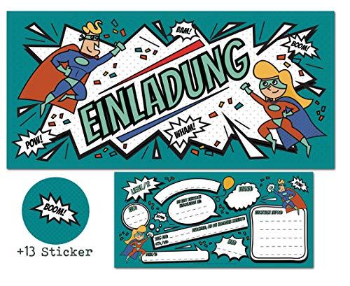 CardWheels 12 SUPERHELDEN Einladungskarten zum Kindergeburtstag + 13 Aufkleber Gratis - Mädchen Jungen / Party Mitgebsel Geburtstagseinladungen Karten Geburtstag Kinder