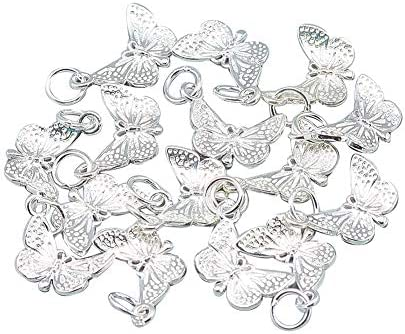 CHGCRAFT 5pcs 925 Sterling Silver Butterfly Charms 925 Sterling Silver Butterfly Charms for product image