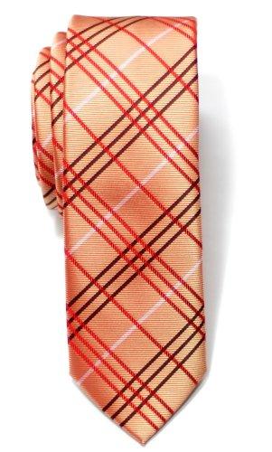 Corbata con diseño de cuadros escoceses de Retreez, microfibra, corbata fina, varios colores Naranja naranja Talla única