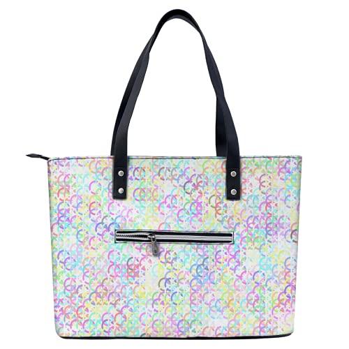 Colorido arte colgante bolsa de mano ligera para ir de compras, gimnasio, senderismo, viajes, piscina, yoga, bolsa de hombro con bolsillos exteriores con cremallera