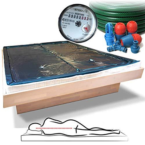 Traumreiter 2X Wasserbettmatratze 100x220 für 200x220 Wasserbetten + Sicherheitswanne + Schlauch + Wasserzähler für richtige Wasserbett Füllmenge I Wasserkern Matratzen Wasserbett Matratze (3-4 Sek.)