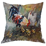 Moslion Throw Pillow Cover Case Cock Hen and Chicks Watercolor Art Chicken Family Paintings Cotton Linen Cushion Covers for Couch/Sofa/Kitchen/Car/Boy Gilrs Bedroom Livingroom 18 x 18 inch Pillowcase