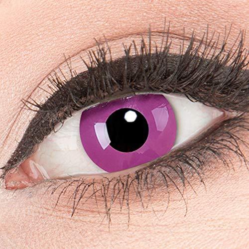 Meralens Farbige lila Violette Kontaktlinsen Crazy Kontaktlinsen Crazy Contact Lenses Purple 1 Paar perfekt zu Fasching und Halloween. Mit Linsenbehälter + 60ml Pflegemittel