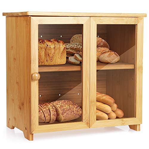 Tobeelec Amplia Caja de Pan Hecha de bambú Grande para encimera de Cocina, Caja de Almacenamiento de Pan Puerta y Espacio de Almacenamiento Ajustables, fácil de Usar, autoensamblable