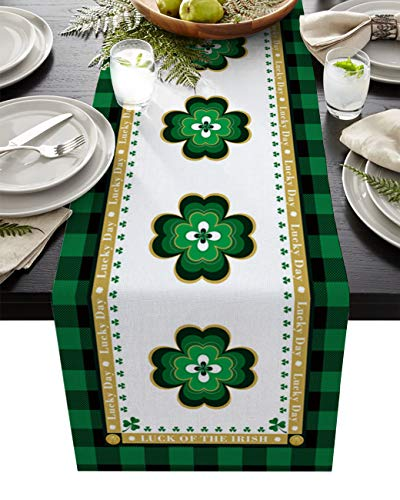 St. Patrick's Day Retro Celtic Knots Table Runner-Cotton linen Long 72 inch, Lucky Clovers Green and Black Buffalo Checker Tablerunner for Kitchen Coffee/Dining/End Table Scarfs for Holiday Dinner